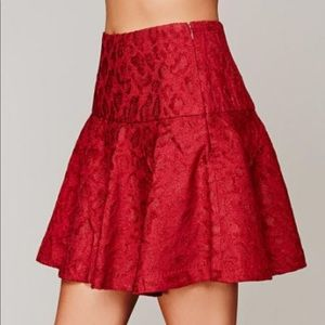 Free People Red Chenille Cheetah Skirt, Size 0